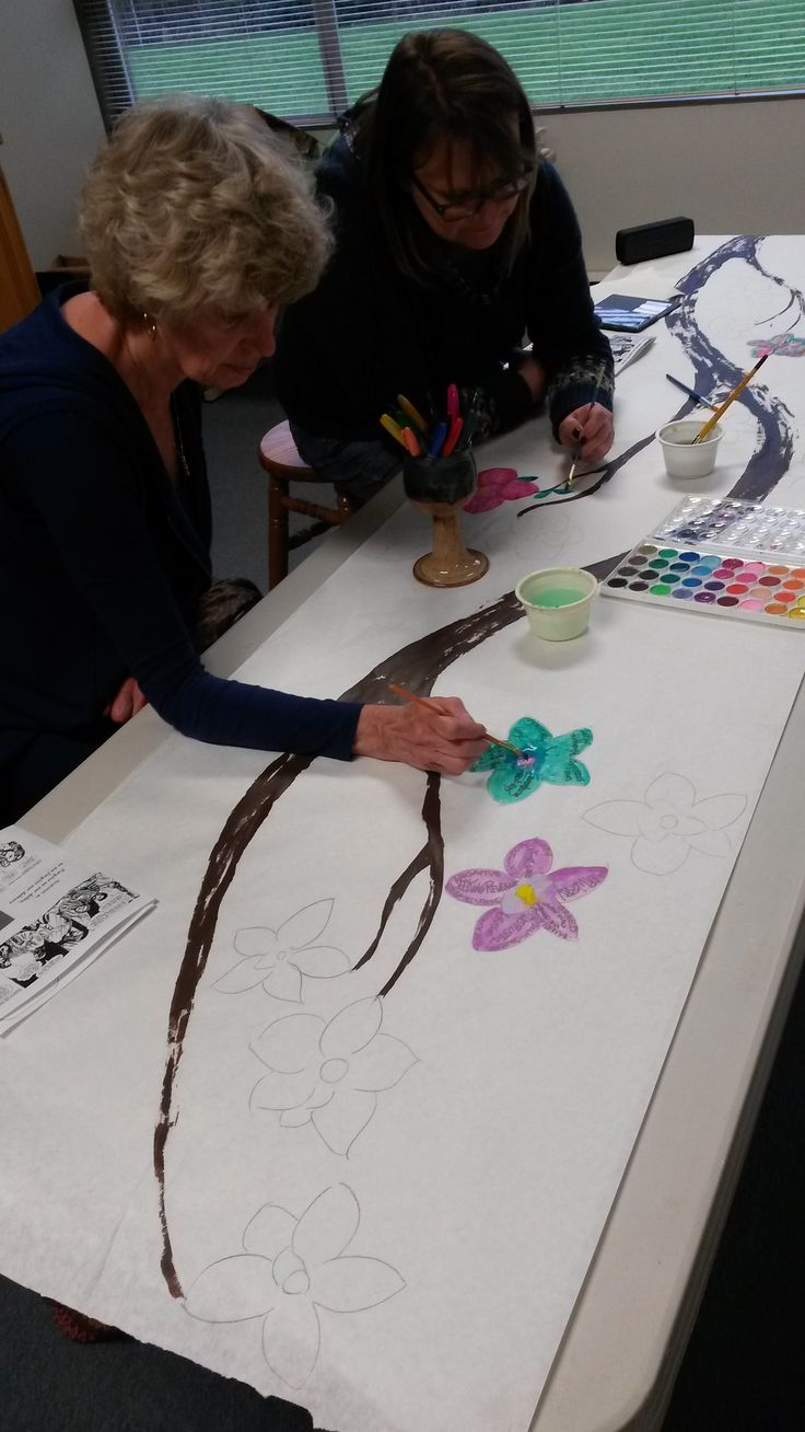 2016 Maundy Thursday  |  Prayer station:  On the bare branch paper banners from Lent, pencil in magnolia outlines, use pens to write confessions inside the flowers, then paint over them as a sign of forgiveness and the hope of new life.