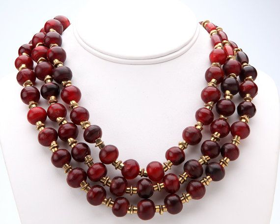 Giant Red Statement Necklace with Dark Red Carved by katandbear, $56.00