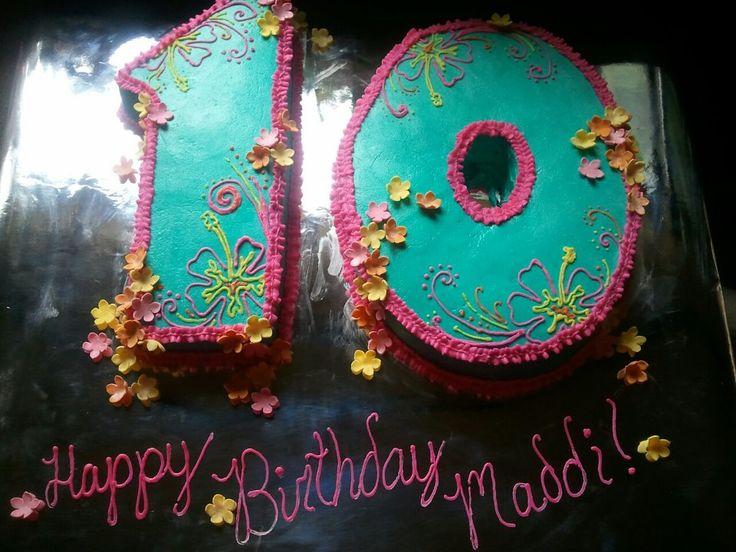 hawaiian theme 10th birthday cake