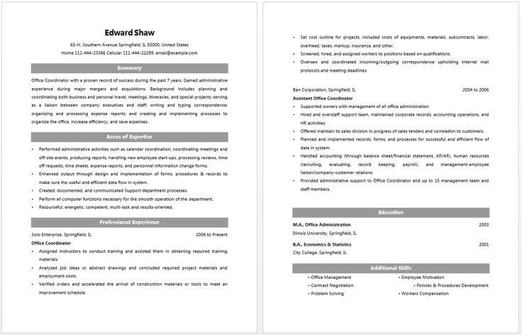 Office Coordinator Resume Resume Job Pinterest – Office Coordinator Resume Sample
