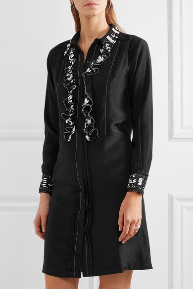 Paul & Joe - Syvette Bead-embellished Silk-satin Mini Dress - Black - FR40
