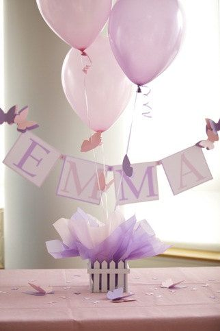 Butterfly Birthday Party Decorations - Purple, Hot Pink Personalized Butterfly Balloon Centerpieces