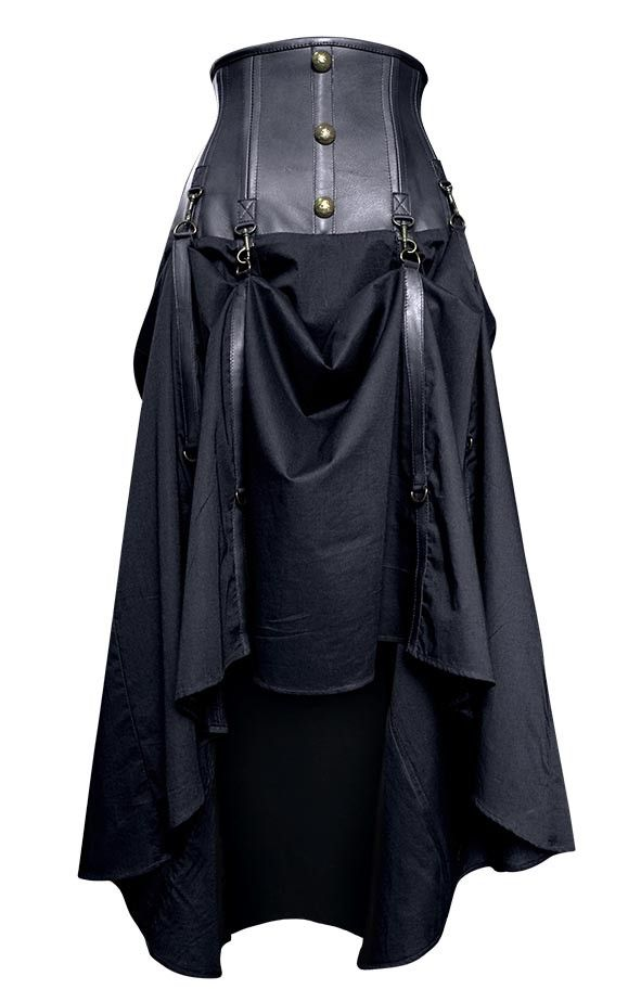 Long Black Real Leather Skirt | Steampunk Skirts | Steampunk Clothing. High waist <3