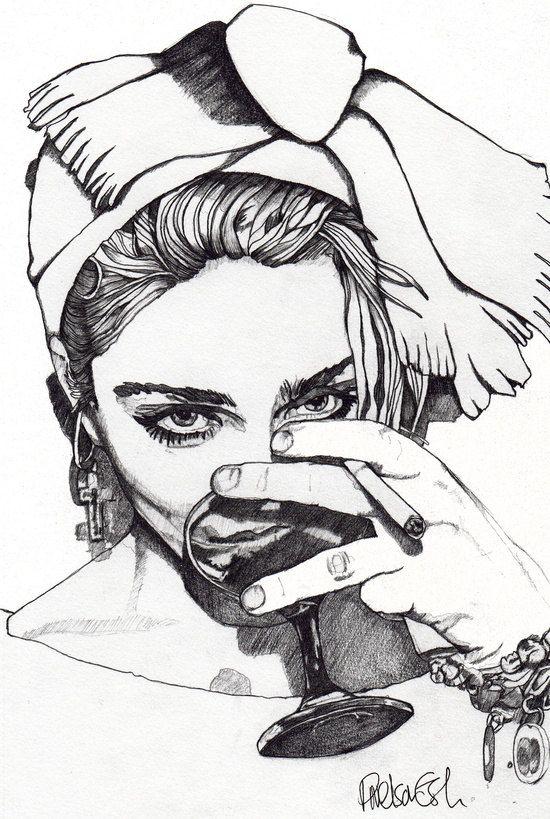 Madonna 7 - Original Signed Paul Nelson-Esch Drawing Art pencil Illustration portraiture Pop 80s Virgin retro unique decor home Free S&h