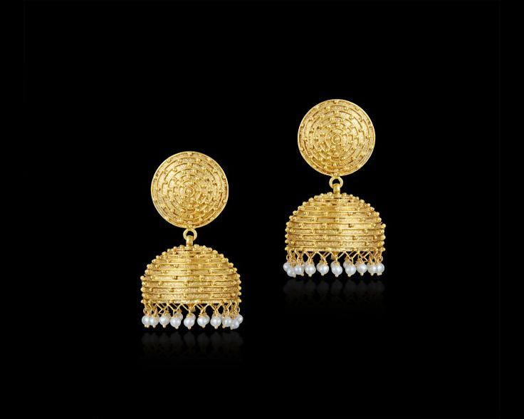 This festive season, accessorise your ethnic outfit with this elegant pair of #gold #jhumkis from #Gehna! #Jewellery #Jewelry