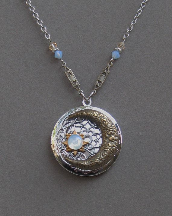 Silver Locket Necklace  Moon And Stars  Celestial Sky  by envisage, $34.00
