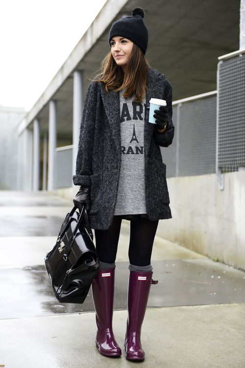 Shop this look for $289:  http://lookastic.com/women/looks/beanie-and-rain-boots-and-satchel-bag-and-gloves-and-tunic-and-overcoat-and-knee-high-socks-and-leggings/1659  — Black Beanie  — Purple Rain Boots  — Black Leather Satchel Bag  — Black Leather Gloves  — Grey Print Tunic  — Charcoal Herringbone Coat  — Grey Knee High Socks  — Black Leggings