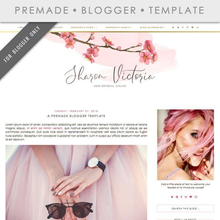 Blogger Template - Mobile Responsive & Dropdown Menu - Watercolor Design Blog - INSTANT DOWNLOAD - Sharon Victoria Theme http://etsy.me/2FaLAty #blogtemplate #bloggertemplate #blogtheme #blogspot #bloggertheme #watercolorblog #elegant #cherryblossom #watercolor #pink