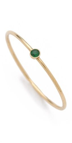 Jennifer Meyer Jewelry 18k Gold Thin Emerald Ring. Perfect birthstone ring.