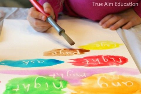 sight word reading activity with paint