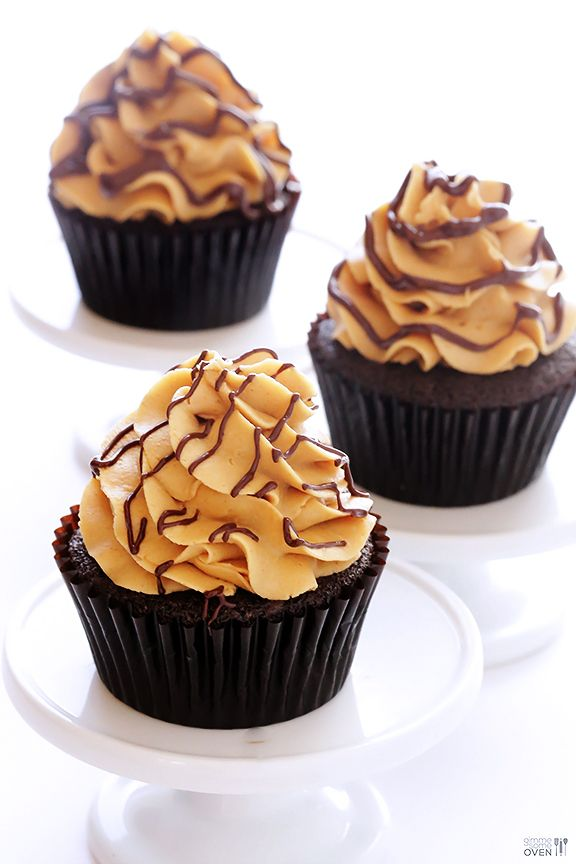 Chocolate Peanut Butter Cupcakes Recipe with Reese's Cup inside!  (with step-by-step tutorial) | gimmesomeoven.com