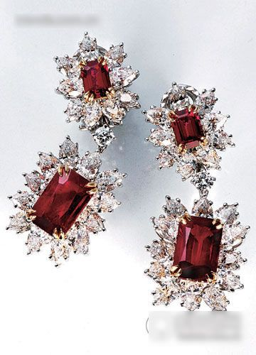Diamond earrings & Ruby by Harry Winston.  Just a choice of rubies, just in case I tire of the other pair.