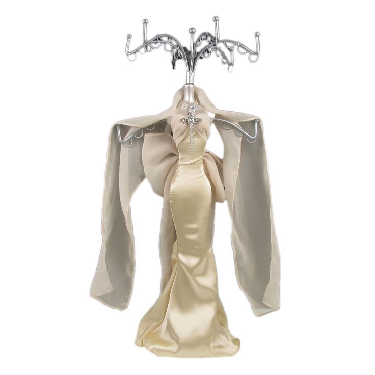 Stand Display Jewellery Holder Bracelet Necklace Rack Mannequin Lady Grey Dress Womens Gold Dress Lady Grey Jewelry Holder