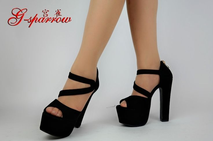 37.90$  Watch now - http://alib8k.shopchina.info/go.php?t=32807619412 - New Fashion Sexy Thick With 15 Cm Black High Heels Womens Peep Toe Sandals Platform Shoes For Sale Online 37.90$ #SHOPPING
