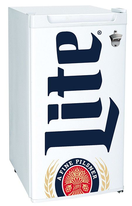 Features:  -Adjustable temperature dial.  -High quality compressor requires minimal power.  -Official miller lite branding.  -Reversible door with magnetic seal.  -Temperature range is between -2°C an