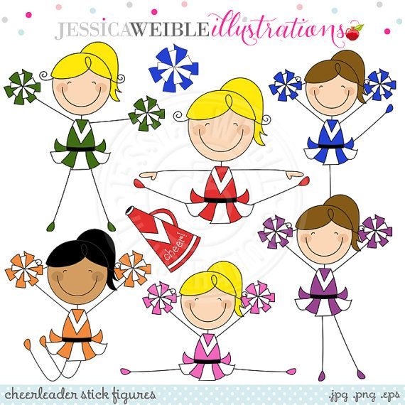 Cheerleader Stick Figures Cute Digital Clipart by JWIllustrations