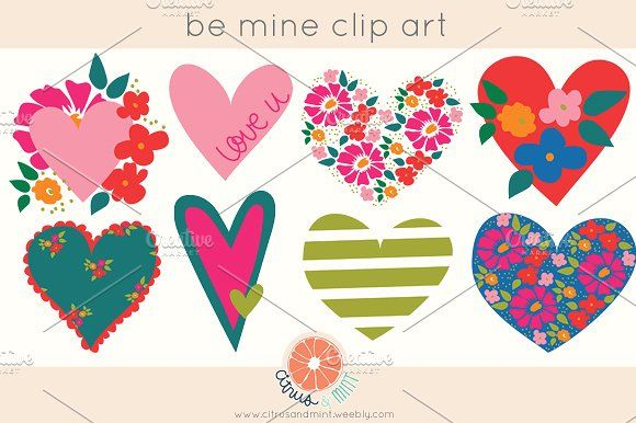 Hearts EPS and PNG Clip Art by Citrus and Mint on @creativemarket