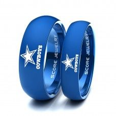 ************ANY TEAM************ 2 Piece Couple Set 8mm & 6mm Blue Tungsten Bands with Domed Edge NFL Football Dallas Cowboys Logo Laser Engraved Ring