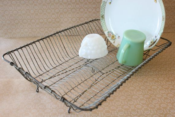 Antique Wire Dish Drainer Rustic Dish Rack by BookcliffVintage