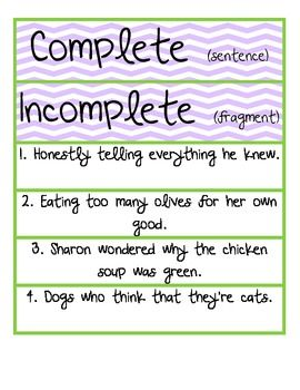17 Best images about complete/fragment sentences on Pinterest ...