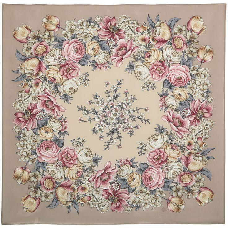 Платки 89х89, крепдешин : Цветы для любимой 1595-1, павлопосадский платок (крепдешиновый) шелковый с подрубкой