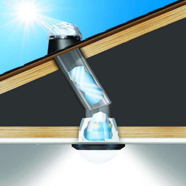 El sistema de iluminación natural Solatube captura luz a través de un domo en el techo y la canaliza a través de un sistema reflectante interno patentado.