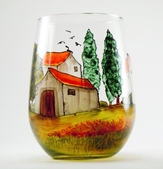 Hand painted glass carafe with two wine glasses.    Have you ever been to Provence, that beautiful Mediterranean region of France? Its one of my favorite places in the world! Look at my Village Provencal collection and walk into a village from Provence; hear the cicadas; smell the lavender, rosemary, sage and thyme; view the lovely rolling hills. Some people may think that they are in Tuscany instead of Provence and that is fine with me.    I painted a detailed village and landscape all…