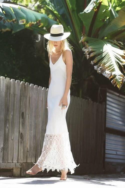 Vestido blanco largo tirantes crochet