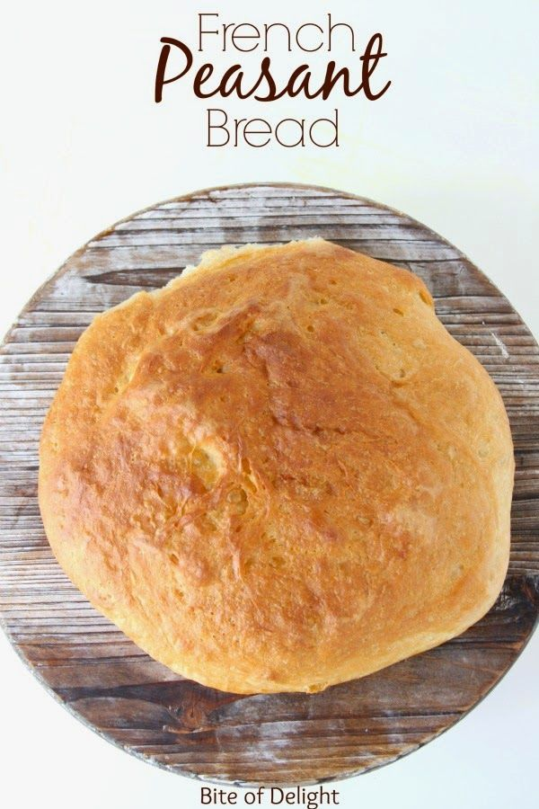French Peasant Bread is no-knead, SO easy, and super delicious!  The simplest bread you can make, and takes less than 5 minutes to prepare.  Bite of Delight