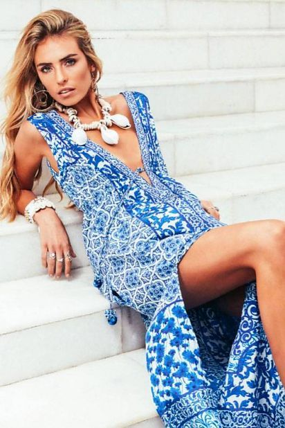 Ruby Yaya Maxi Dress Catania Ruby Yaya - Blue/ White