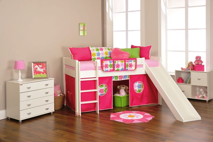 Amusing Toddler Girl's Bedroom Set For Small Bedroom With Chic Bunk Bed With Slide As Well As Cute White Dresser And Rack : The Cutest Toddler Girl Bedroom Sets with for Small Bedroom Remodel
