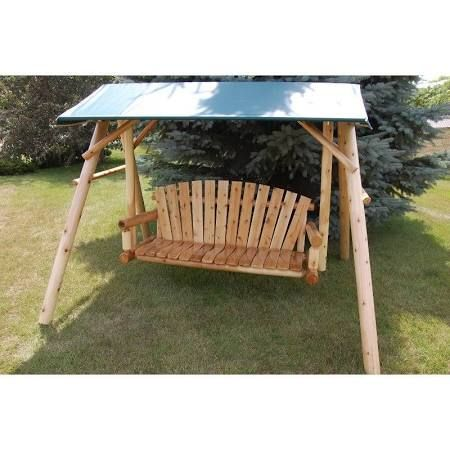 wooden patio swing with canopy - Google Search