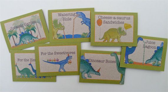 PRINTABLE set of 7 food tents for dinosaur themed party ...