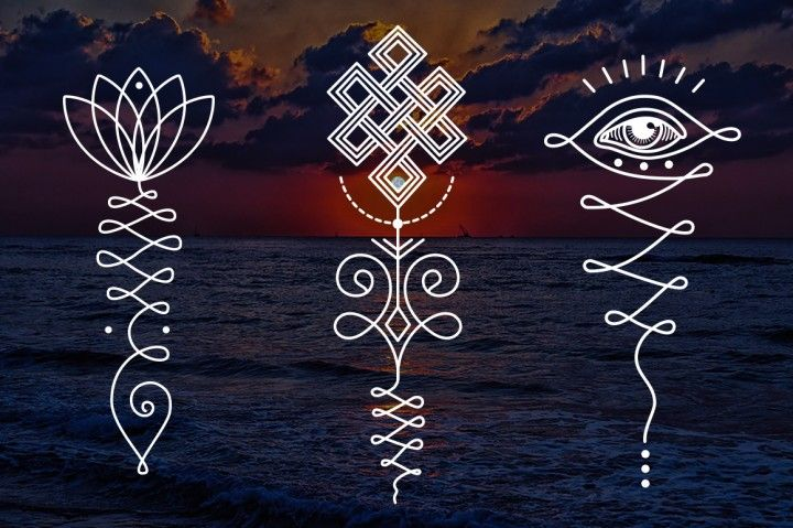 11 Unalome & lotus Sacred symbols By A.Slowik