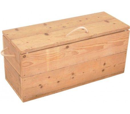 Handgemaakte robuuste steigerhouten opbergkist vervaardigt van gebruikt steigerhout. De opbergkist heeft een afmeting van 100 x 39 x 45.