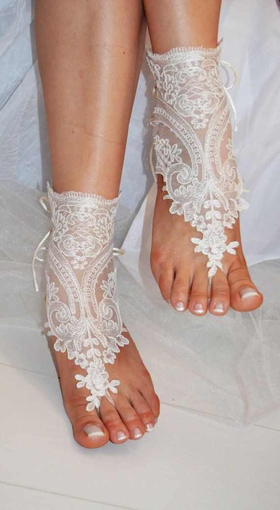 Beach Shoes Bridal Sandals Lariat Wedding Ivory Accessories Summer Wear Handmade