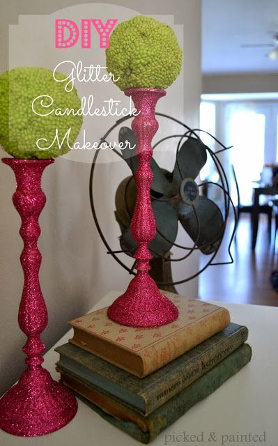 Picked & Painted: DIY Glitter Candlestick Makeover