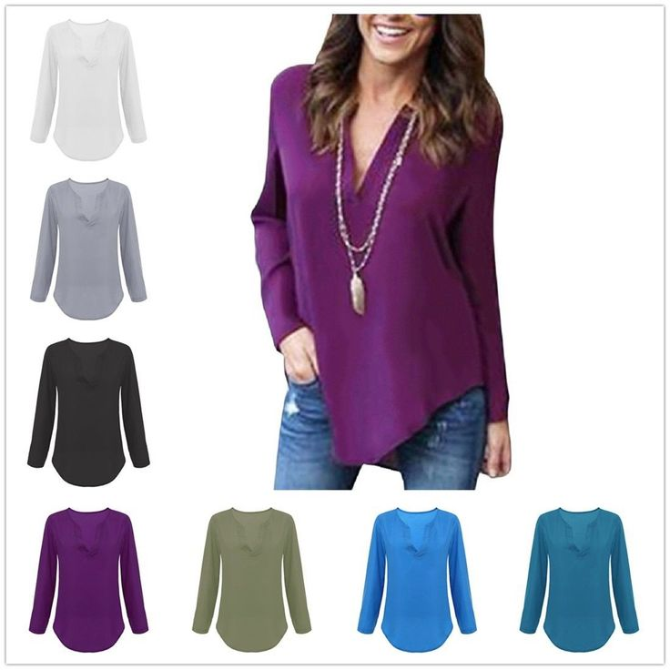 Casual Women's Long Sleeve Chiffon Deep V Neck Loose T-Shirt Bodycon Tops Tees