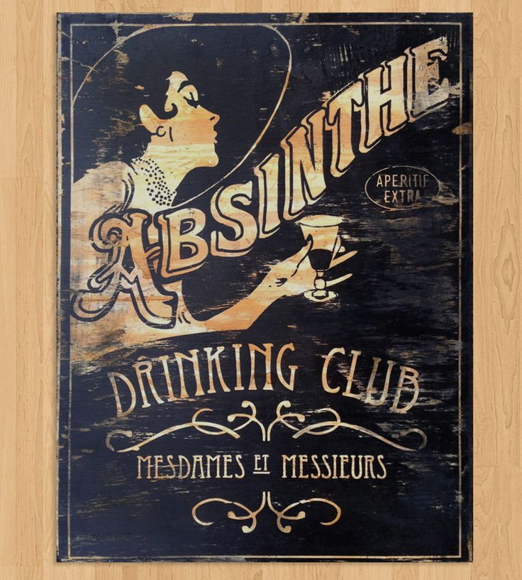 Absinthe Drinking Club Wood Art | Nod cheerfully at the Absinthe Drinking Club every day with th... | Artwork