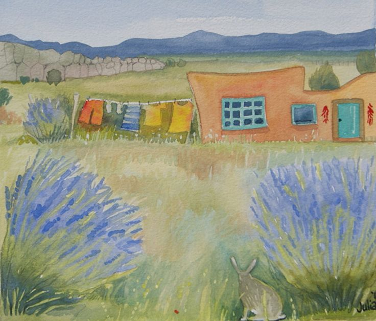 "Wash day in Galisteo by julia cairns Watercolor ~ 8"" x 8"""