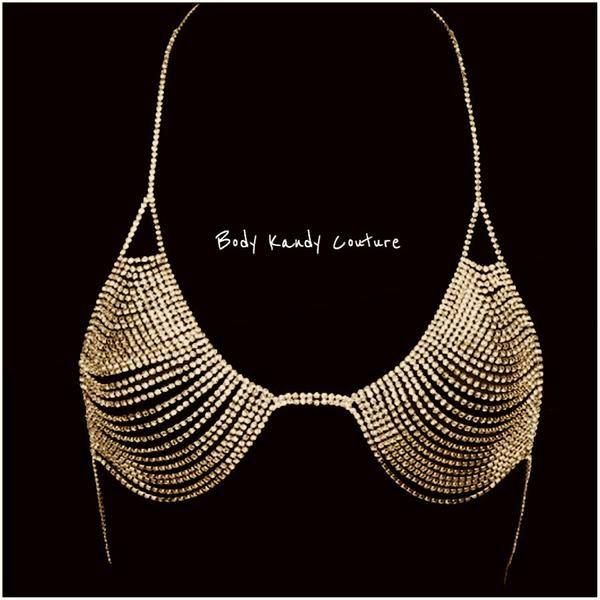 Elle Rhinestone Chain Bra - Gold Body Kandy Couture Sexy Rhinestone Bra.