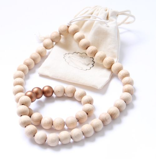 Woonketting Woodbubbles S 4 kleuren. wooden interior beads. copper, pink, mint, white