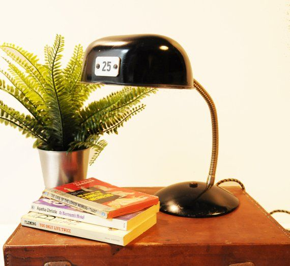 Midcentury Desk Lamp Black Metal Vintage Industrial Rewired Study Lamp Office Lamp Black Lamps Study Lamps Metal Desk Lamps