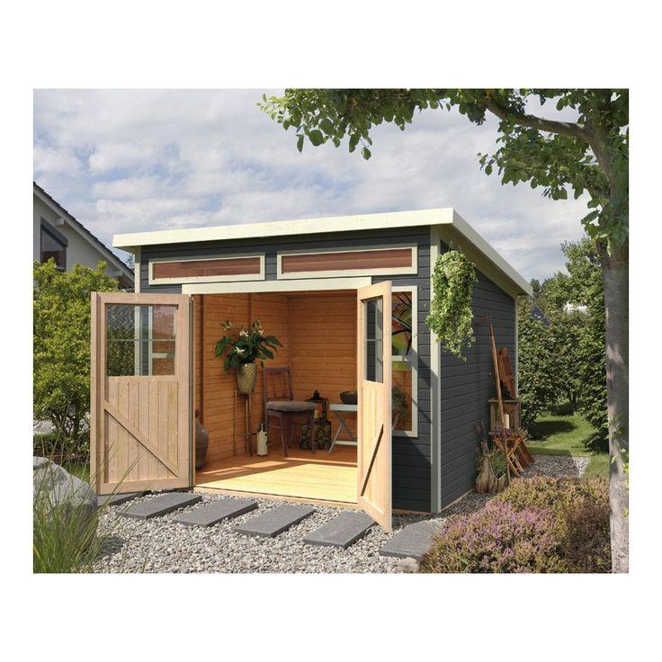 Abri toit plat 9,24m² en bois vitrifié gris 19mm Tinkenau 8 Karibu