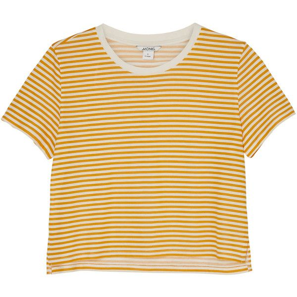 Monki NEW! Pia tee (£6) ❤ liked on Polyvore featuring tops, t-shirts, shirts, sleek stripes, crew neck t shirt, stripe tee, crop tee, yellow top and crew-neck tee