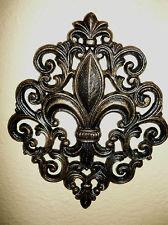 Cast Iron Fleur De Lis Wall Plaque Metal Art Old World Tuscan Meval Decor