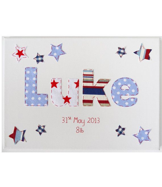 PERSONALISED BOYS name CANVAS Applique hand sewn baby Bedroom nursery decoration, pictures, wall plaque. Made using Cath Kidston fabric on Etsy, $59.61