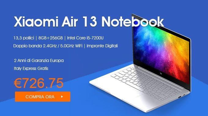 Xiaomi Air 13 Notebook Sensore d' Impronte Digitali - 2 Anni di Garanzia Europa  13,3 pollici Windows 10 Versione Cinese Intel Core i5-7200U