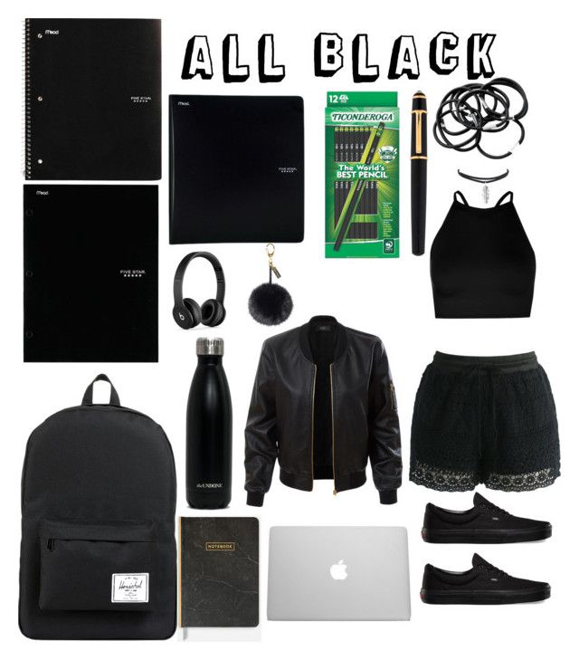 """All Black All The Time"" by tarilove on Polyvore featuring Herschel Supply Co., ACCO, Five Star, Beats by Dr. Dre, Boohoo, Chicwish, LE3NO, Vans, Cartier and H&M"