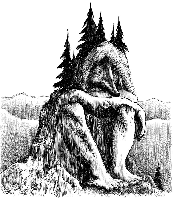 Trolls don't think very fast. This one has been caught by daylight and is now becoming a mountain. Most Norwegian mountains are made of trolls like this one